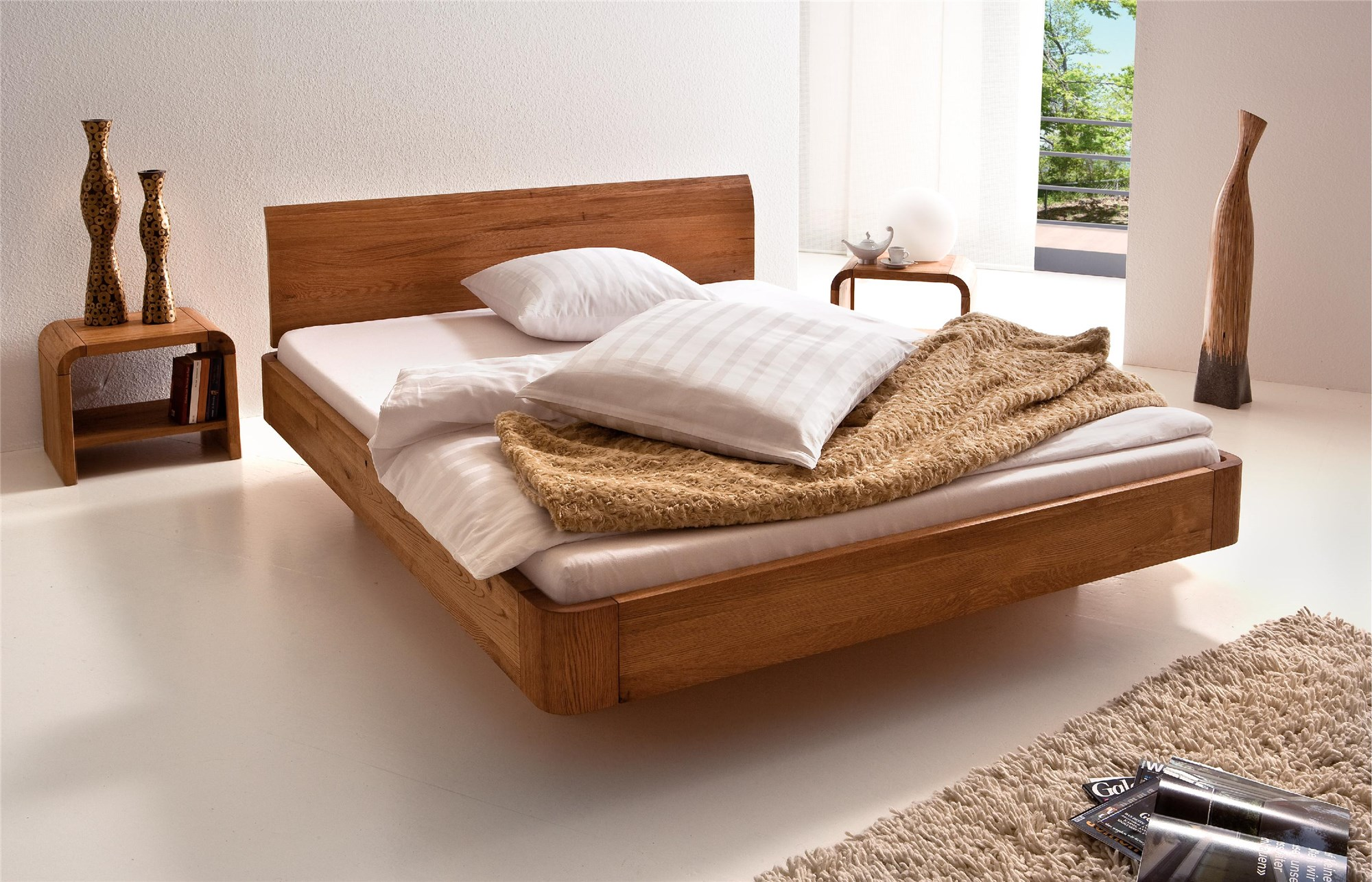 Hasena Oakline Airon Lisio Solid Oak Floating Modern Bed